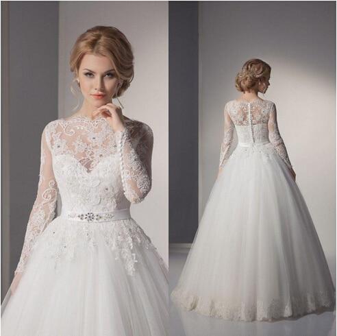 Vintage Princess Wedding Dresses Long Sleeve High Neck 2017