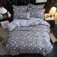 Star Bedding Set Fashion luxury duvet cover set bed cover sheet Pillowcase Stars stripes Home textile 3/4pcs Design black stripe