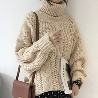 RUGOD Turtleneck Lantern Sleeve Women Sweaters And Pullovers 2018 Thick Knitted Sweater Women Jumper Winter Warm Pull Femme