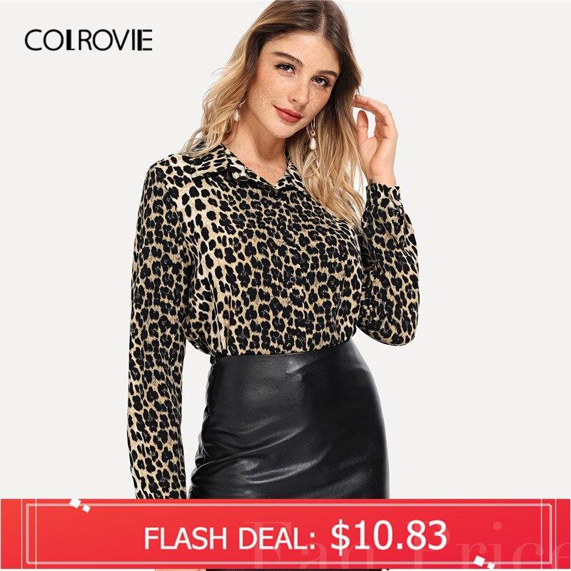 COLROVIE Leopard Print Elegante Bluse Frauen 2018 Herbst Langarm Arbeit Bluse Shirt Mode Sexy Frauen Tops Und Blusen
