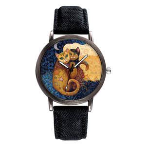 Women Watch Couple Denim-Band Luxury Brand Clock Damski Quartz Creative Cat Lover Dial