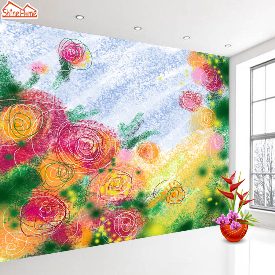 ShineHome-Rose Sketch Floral Flower Wallpaper for Bedroom Murals Rolls for 3d Walls Wallpapers for 3 d  Living Rooms Wall Paper shinehome seascape forest lake in sunset wallpaper rolls for 3d walls wallpapers for 3 d living rooms wall paper murals roll