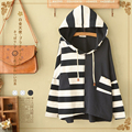 Japanese Spring Casual Sweet Striped Patchwork Loose Women's Long Sleeve Cotton Cute Female Vestido Pullover Hooded Hoodie T219