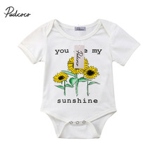 9086aaede pudcoco Infant Baby Girl cotton short sleeve Sunflower You Are My sunshine  Jumpsuit Bodysuit Clothes Outfit