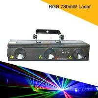 Новый 730mw RGB лазерный луч DMX 512 управление освещение диско ночной клуб дом вечеринка лазерного освещения эффект вращающихся звезд