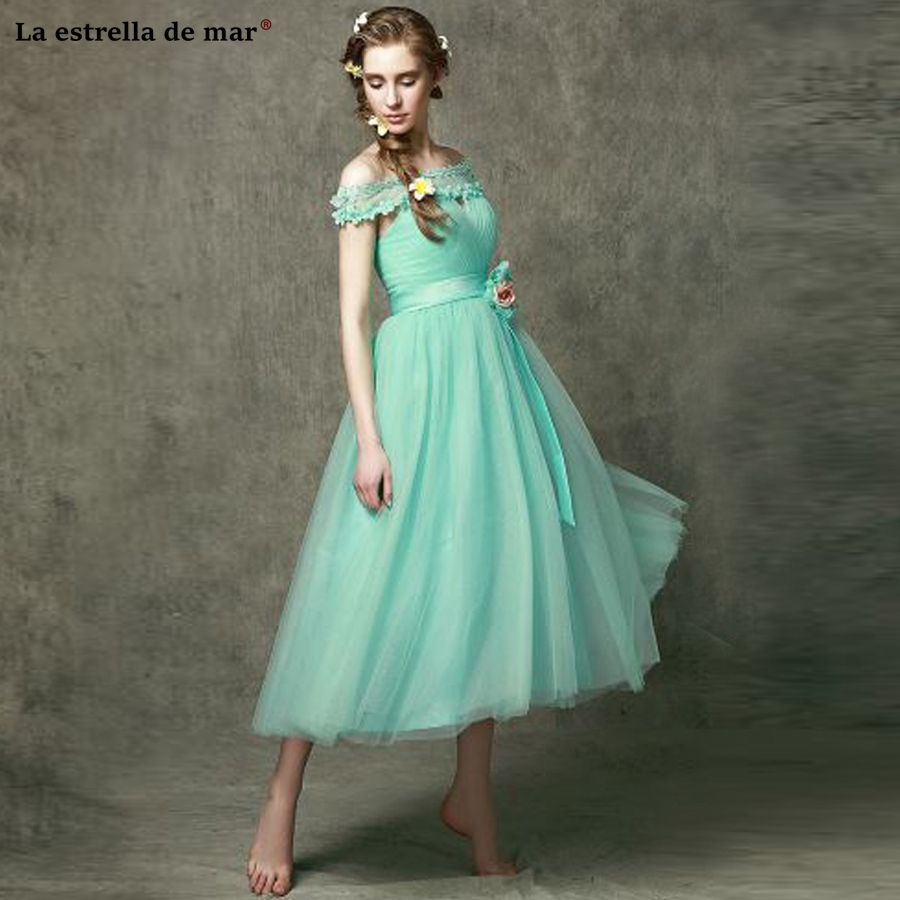 Robe demoiselle d'honneur 2018 new Tulle A Line 6 style Ankle-Length mint green   Bridesmaid     dresses   plus size vestido madrinha