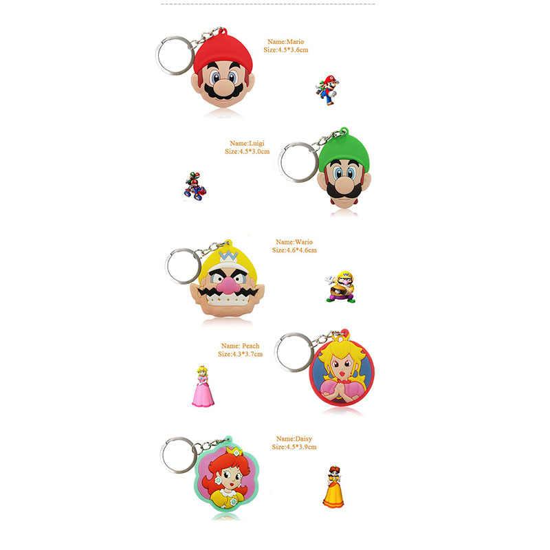 2 шт. ПВХ брелок мини мультяшная аниме-фигурка Super Mario Bro кольцо для ключей, детская игрушка подвеска брелок держатель для ключей брелоков