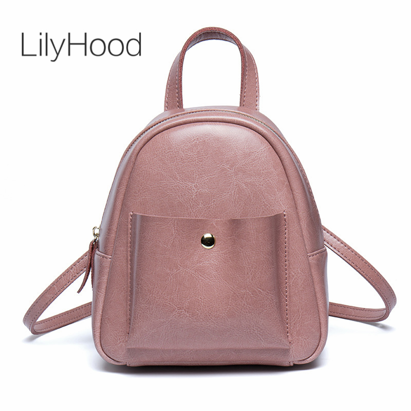 LilyHood PU Leather Mini Backpack 2018 Teenager Women Korean Style Trendy Fashion Cute Simple Pink Black Small Feminine Rucksack 11 09 universal cute beetle style electronic horn for bike pink black 2 x aa