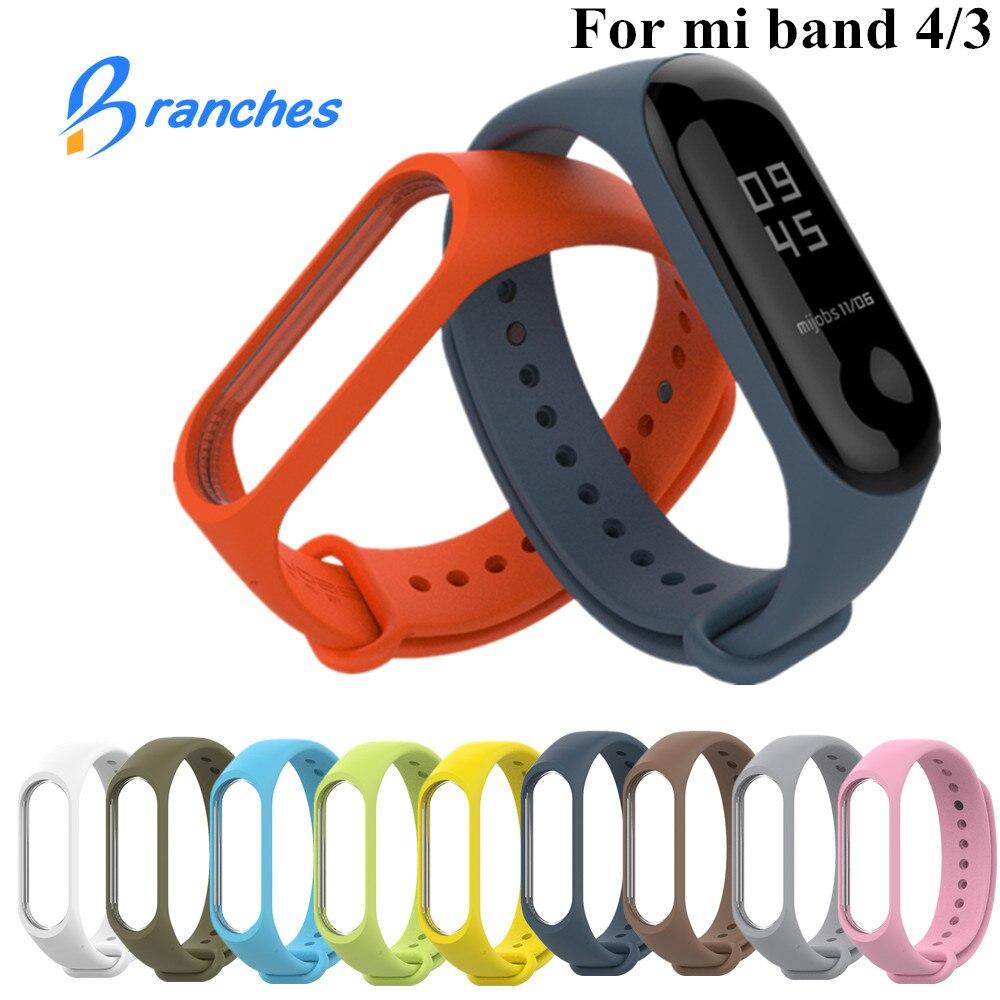 Pulseira para xiaomi mi banda 3 4 esporte cinta relógio de silicone pulseira de pulso para xiaomi mi banda 3 4 pulseira mi banda 4 3 cinta