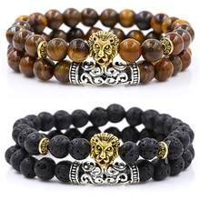 2 Pçs/set Leão Cor de Ouro Prata Charme Tiger Eye Pedra de Lava Contas de Oração Buda Pulseira Conjunto para As Mulheres Pulseras Masculina dos homens
