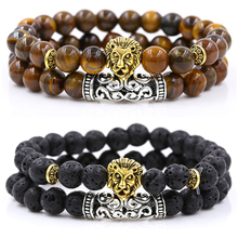 2Pcs/Set Gold Silver Color Lion Charm Tiger Eye Lava Stone Prayer Beads Buddha Bracelet Set for Women Mens Pulseras Masculina