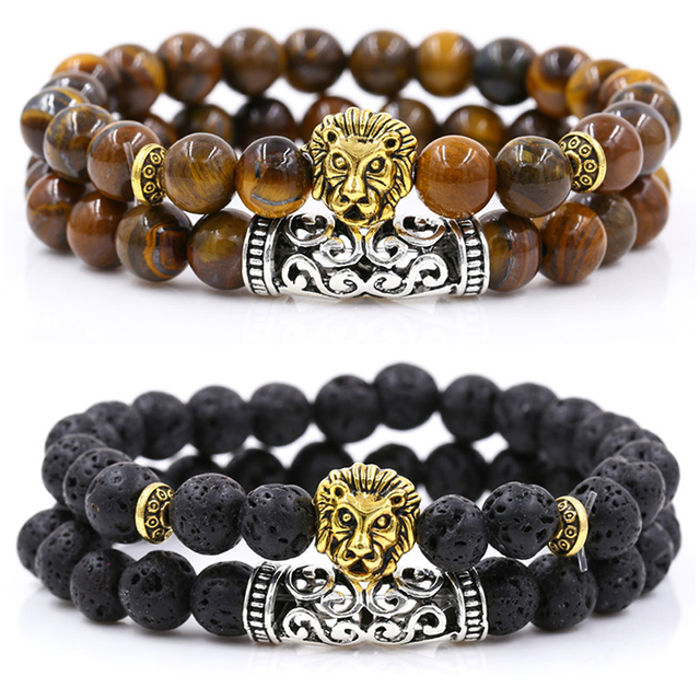 2Pcs/Set Gold Silver Color Lion Charm Tiger Eye Lava Stone Prayer Beads Buddha Bracelet Set for Women Mens Pulseras Masculina