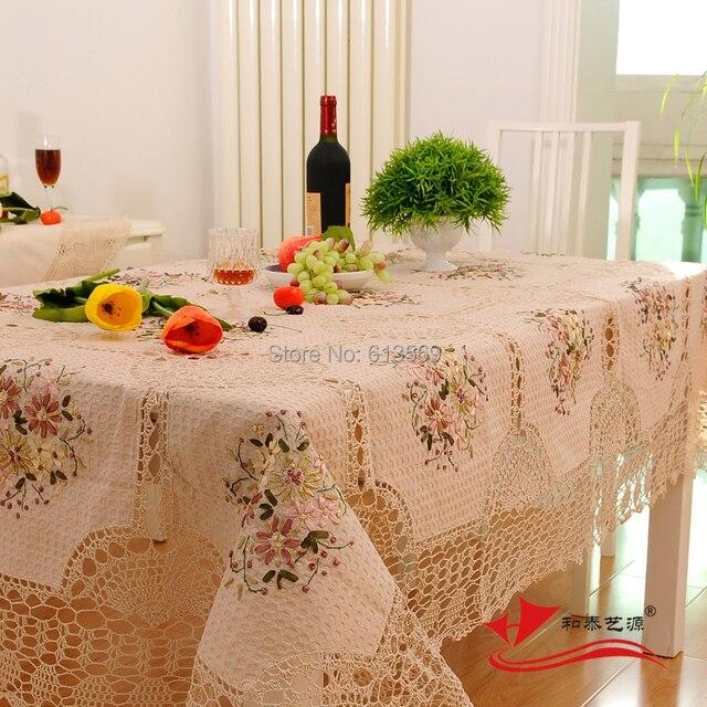 Baumwolle Häkeln Tischdecke Rechteck Stickerei Tischdecken Für Home ...
