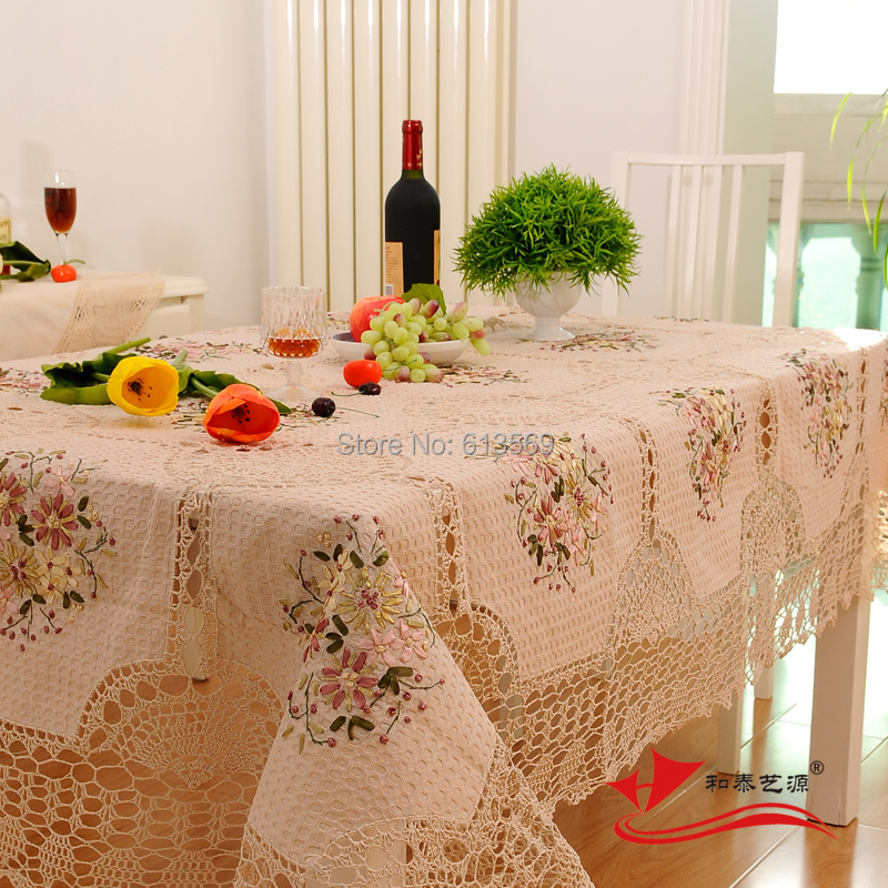 Beige Cotton Hand Crochet Tablecloth Rectangle Embroidery Table Cloths Hollow Out Flower Table Cover For Wedding Decoration