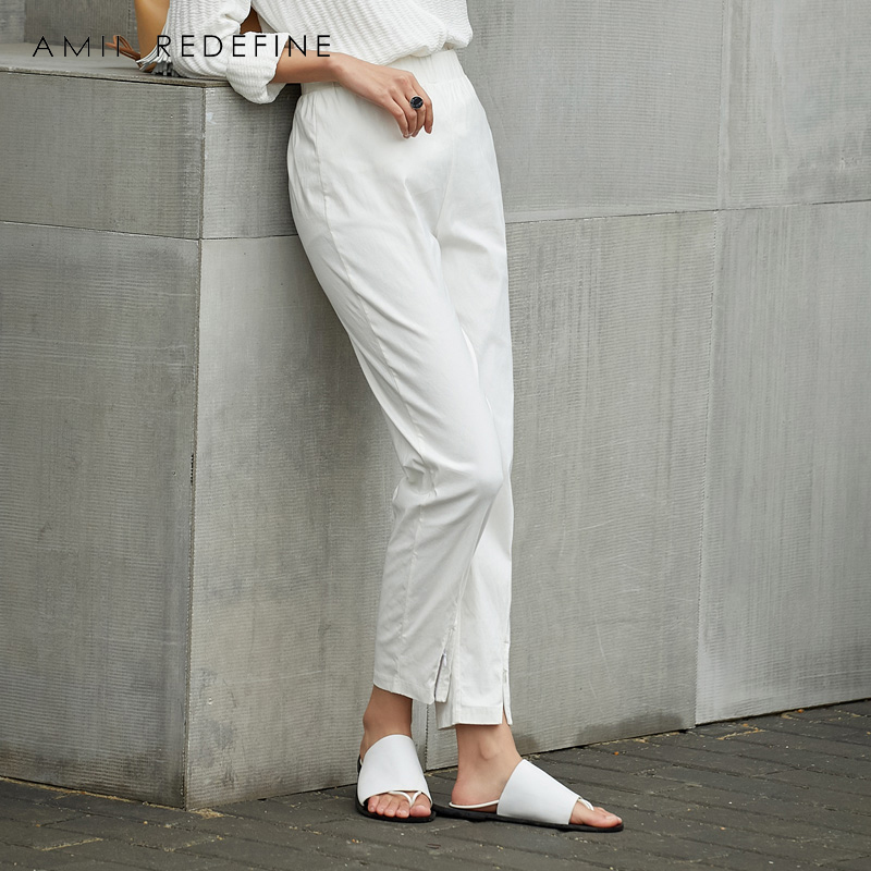 Amii Redefine High Waist Pants Women Causal Office Lady Solid Basis Zipper Fly Slit Casual Straight Pants