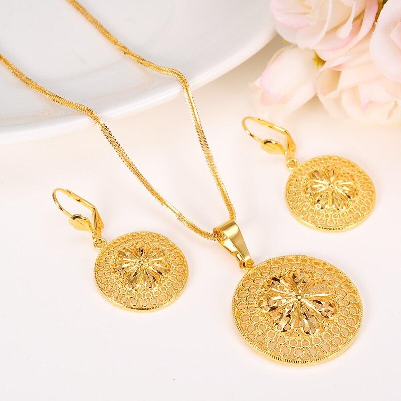 Bangrui New Fashion Ethiopian Jewelry Set Pendant Necklace & Earring Fashion Circle Design Gold Color crucifixo pingente de ouro masculino