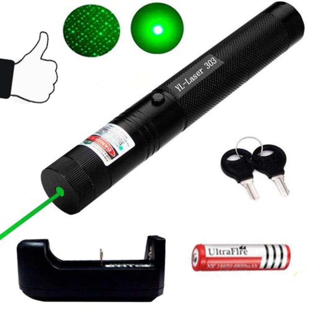 303 Laser Verde 532nm de Alta Potência Ponteiro Laser Verde Lazer Pointer Pen Queima Ajustável Jogo Com Bateria Recarregável 18650 Da Bateria