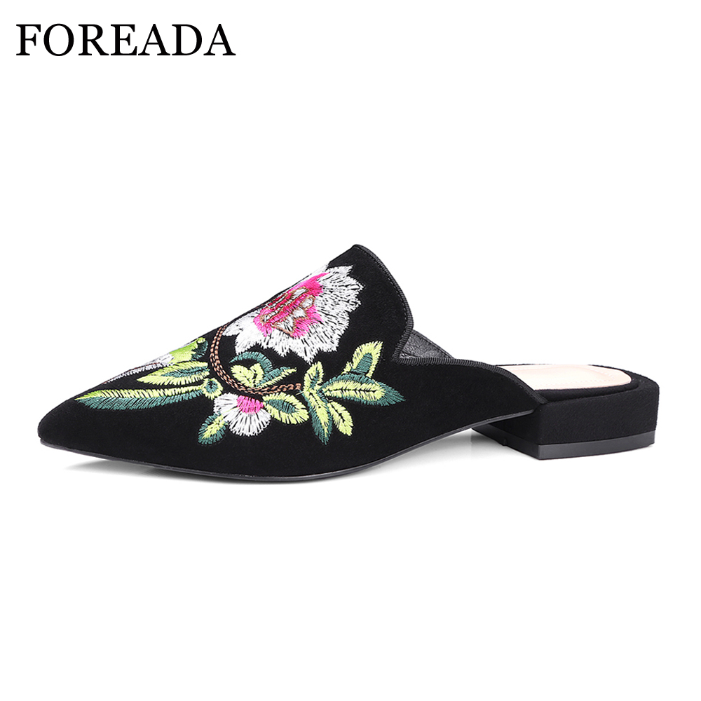 FOREADA Kid Suede Genuine Leather Shoes Women Sandals Mules Shoes Size 34-42 Flower Pointed Toe Slides Embroider Ladies Slippers meotina brand design mules shoes 2017 women flats spring summer pointed toe kid suede flat shoes ladies slides black size 34 39