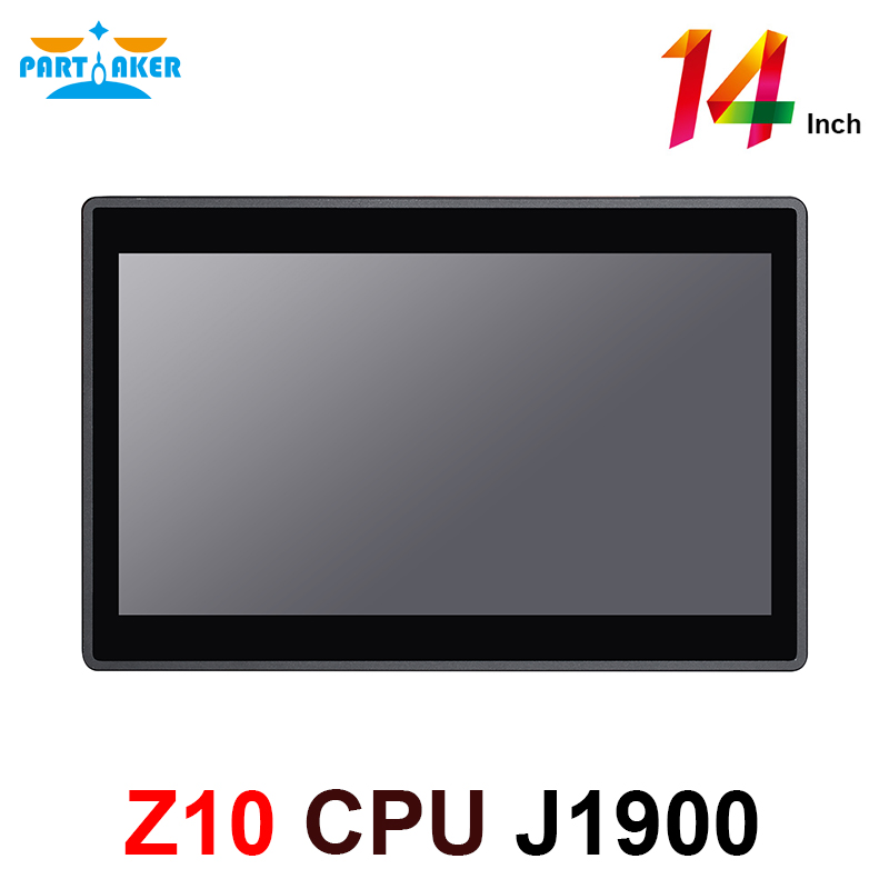 14 Inch Industrial Panel PC 10 Points Fanless Capacitive Touch Industrial All In One PC With Intel Quad Core J1900 Windows Linux