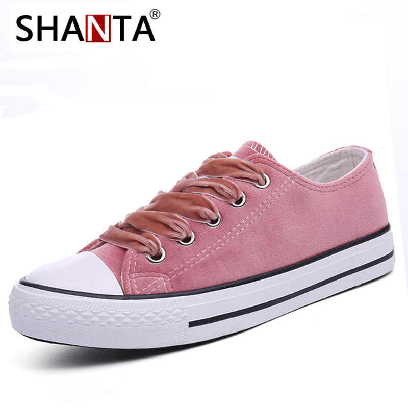 404e62a8fc3b SHANTA Women Vulcanized Shoes 2019 Fashion Solid Color Women Canvas Shoes  Lace-up Casual White