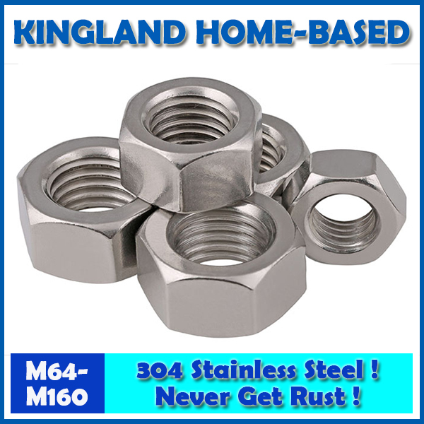 304 Stainless Steel Fasteners DIN934 Hex Nut Metric Thread M64-M160 Hexagon PC Electronic Accessories Tools LM001 20pcs metric m12 304 stainless steel hex head dome cap protection cover nuts fasteners