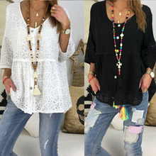 Women Casual Solid V-neck Top Loose Shirt Summer Tops Plus Size Blouses Shirts