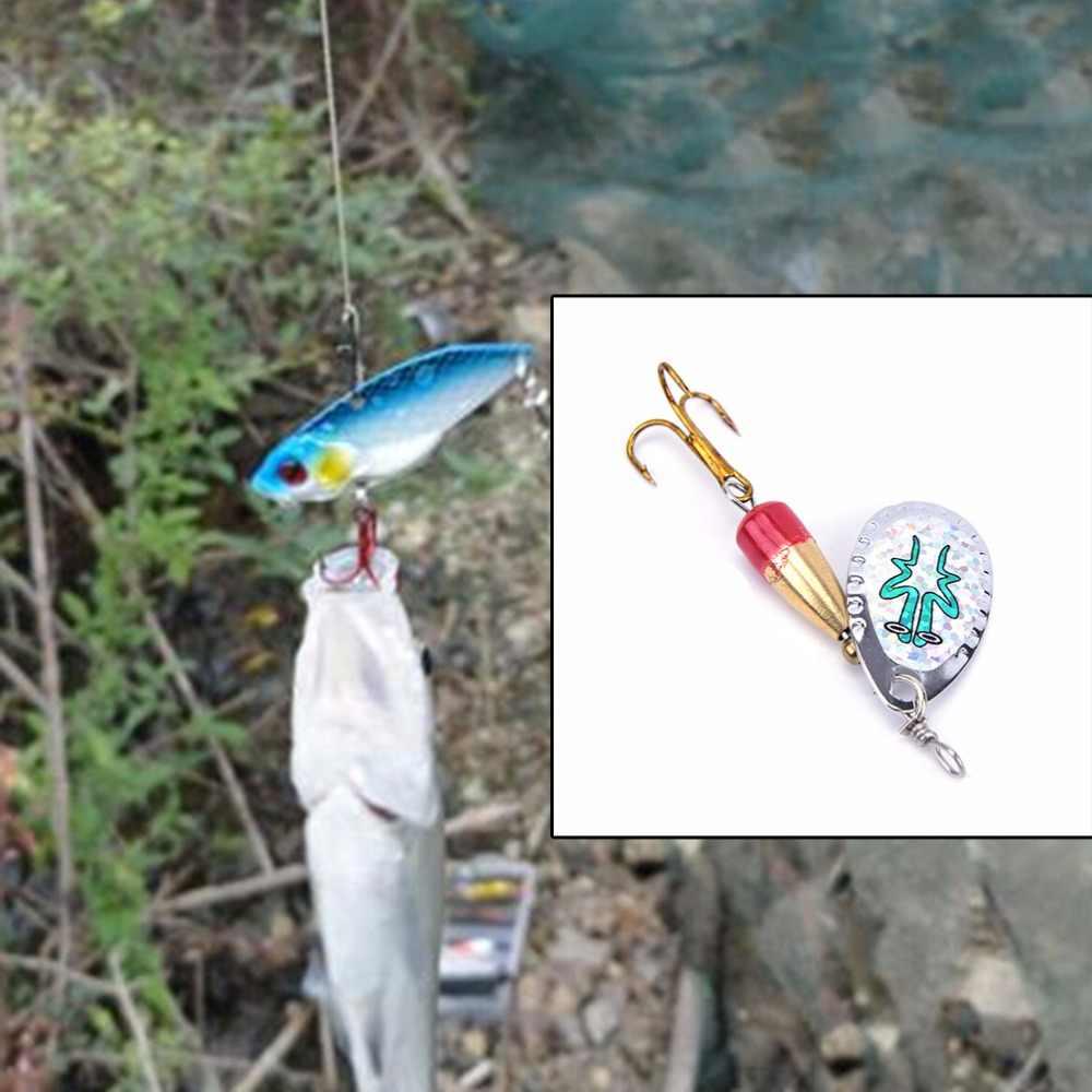 5.7 gam 9 cm Câu Cá Giải Quyết Xoay sequins Spinner Mồi Câu Cá Mồi Nhân Tạo Bả Kim Loại Bionic Cá Móc