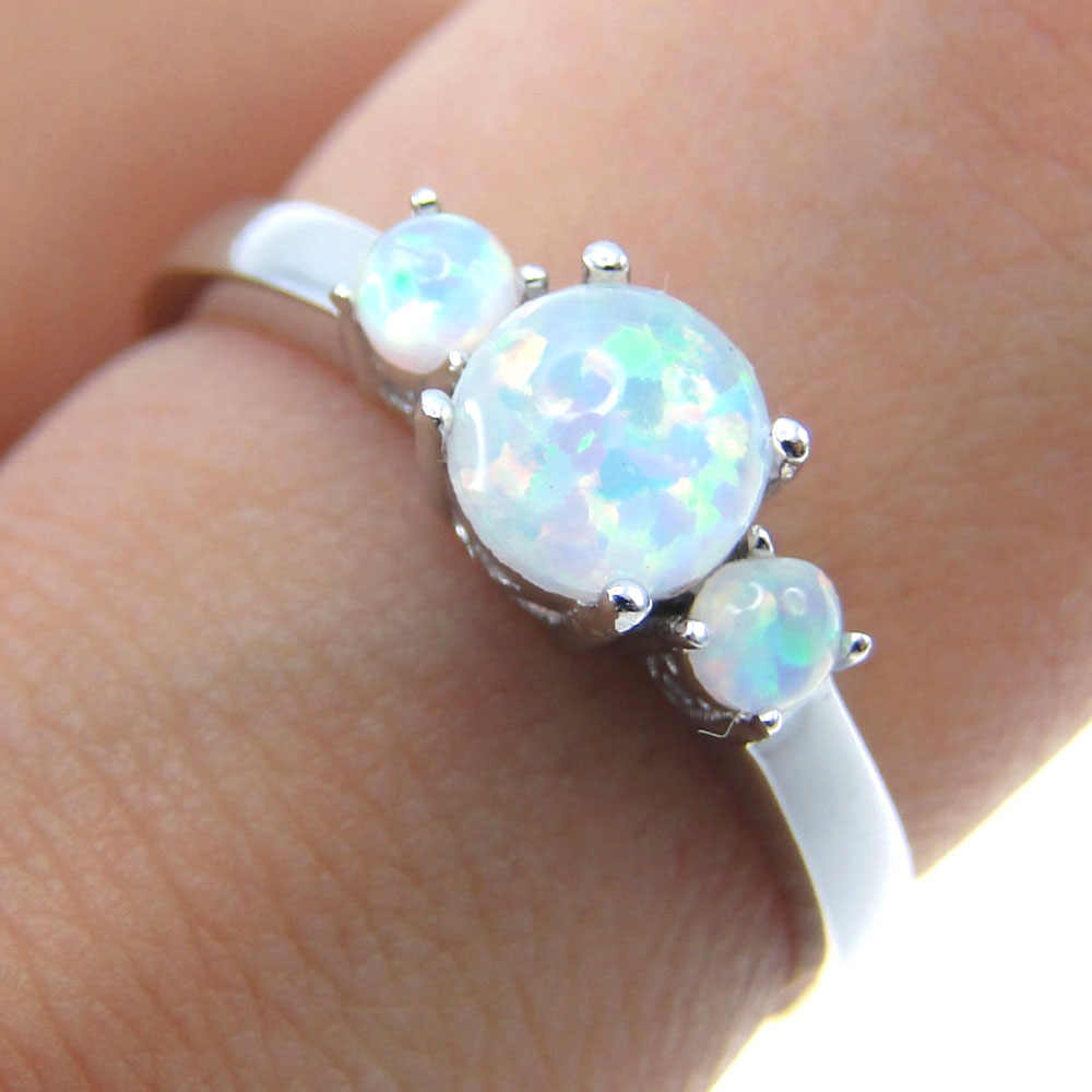 Fine Jewelry for Women Fire Opal Ring 100% 925 Sterling Silver Jewelry Wedding Band Engagement with 3 Fire Opal 5/6/7/8/9/10/11