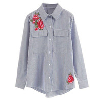 Spring Floral Rose Embroidery Long Sleeve Women Blouses Blue Striped Shirt Autumn Casual Women Tops Blusas