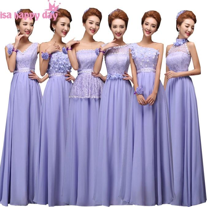 Light Purple Lilac Corset Back Bridesmaid Formal Brides Maid Party Dresses Long Bridsmaid O Neck Dress Chiffon Brides B1879
