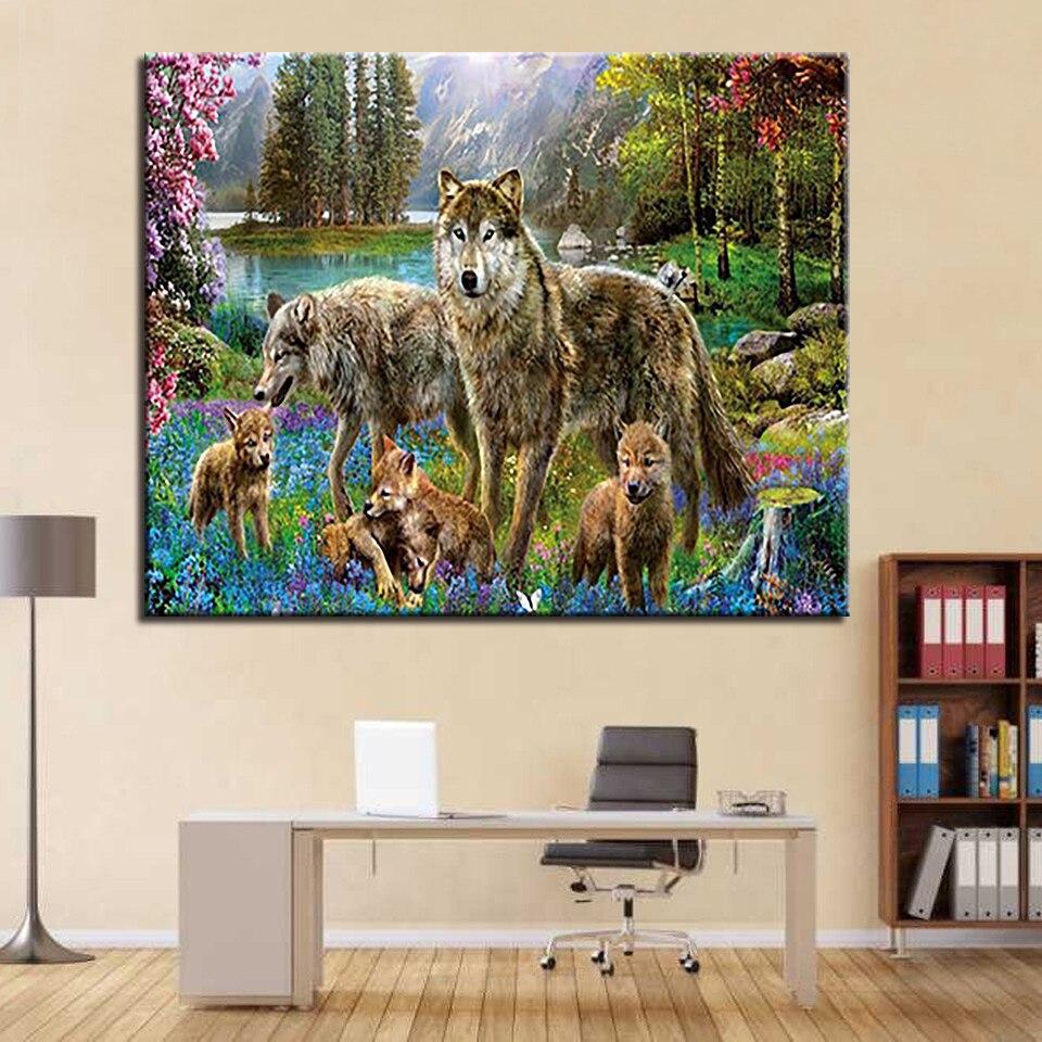US $8 78 OFF Moon Wolf DIY Lukisan Oleh Nomor Kit Mewarnai Es Serigala Api Minyak Gambar Tangan Cat Hewan Kanvas Dekorasi Rumah Dinding Seni In