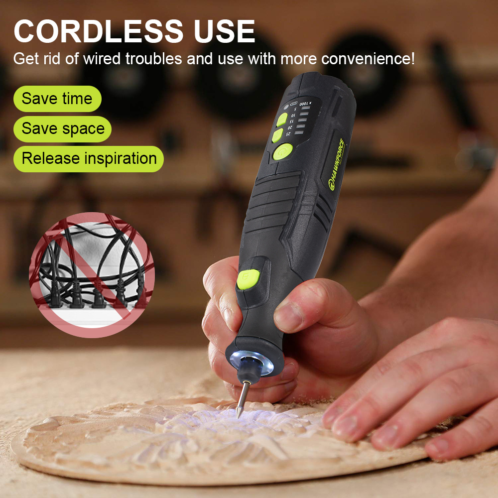 Image 2 - 8V Li ion Cordless Rotary Tool 5 Speed 4 LED Lights HAWKFORCE Rechargeable Electric Mini Drill Engraving Grinder Power Tools-in Electric Drills from Tools on