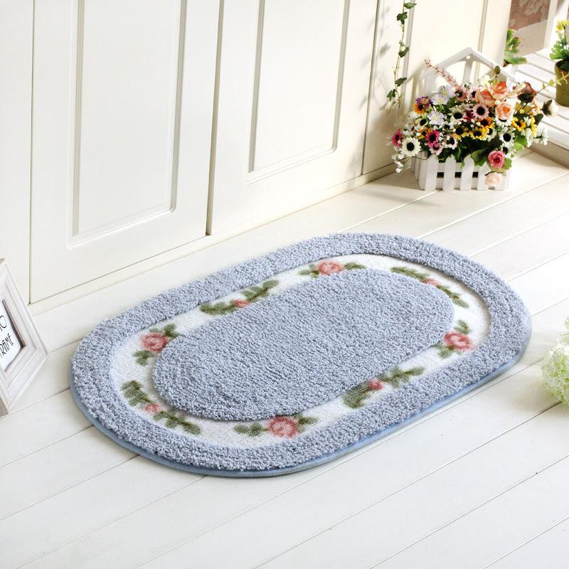 1PCS Oval Bath Mat Pastoral Rose Style Floor Mat Suede