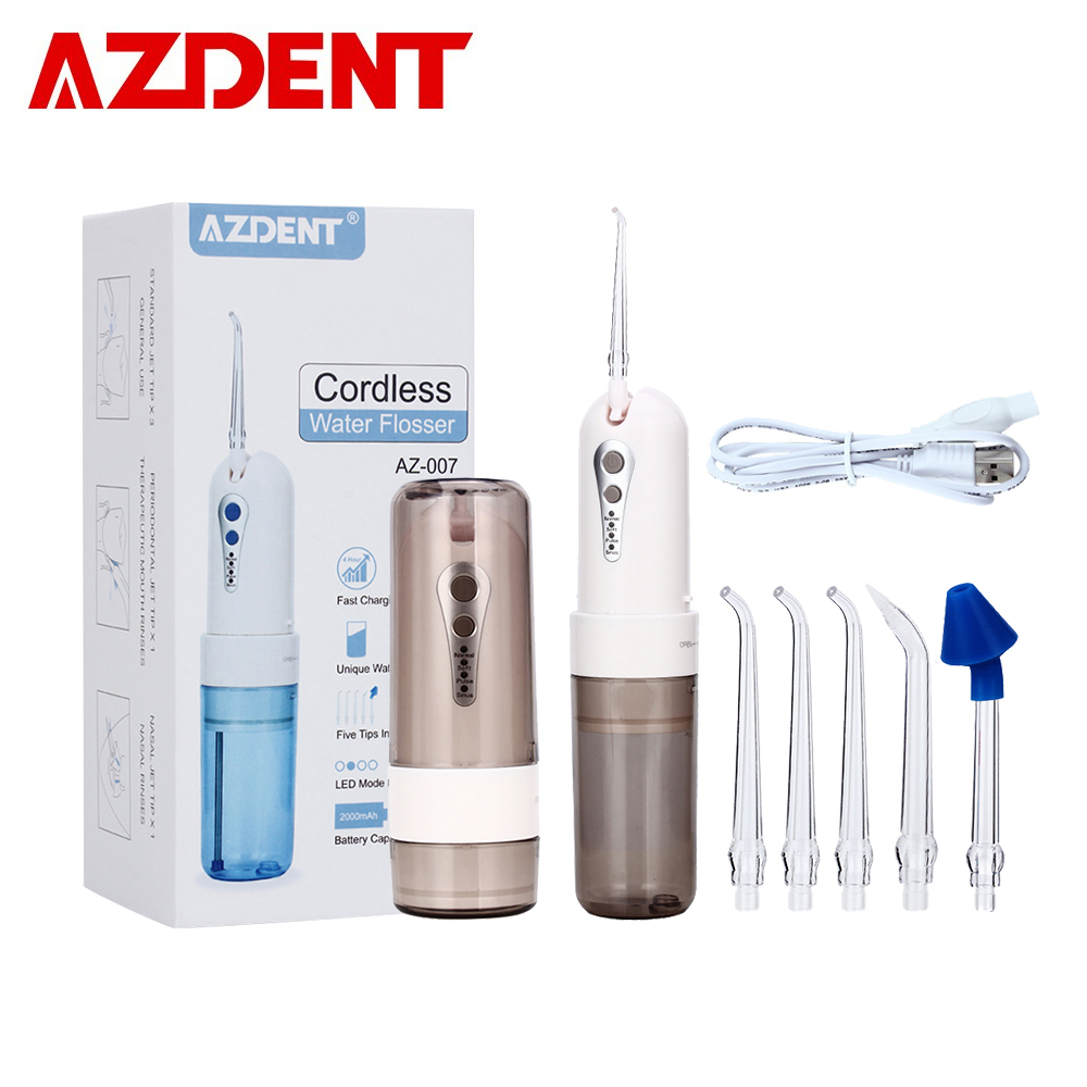 4 Mode AZ-007 Portable Fold Water Dental Flosser Oral Jet Irrigator Floss USB Rechargeable Tooth Pick Nose Clean 200ml 5 Jet Tip