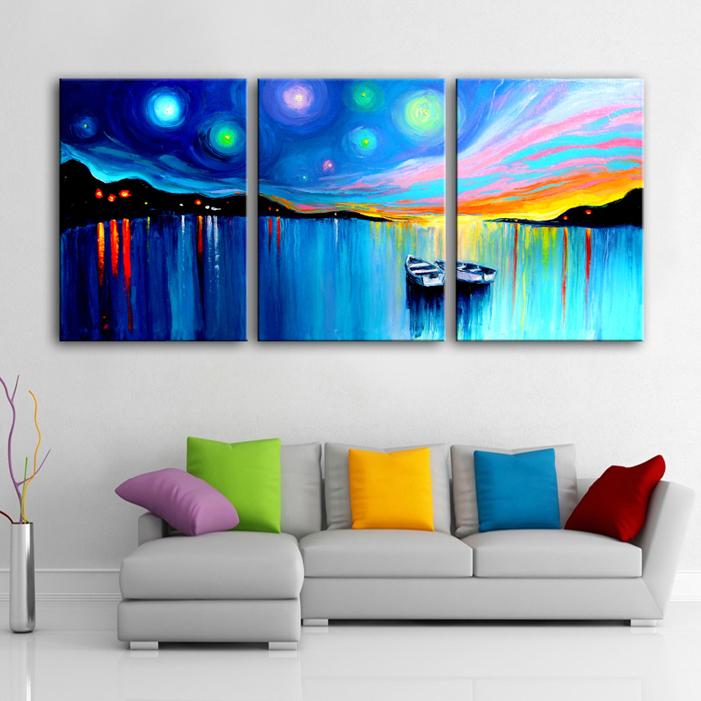 online get cheap oil paintings boats aliexpress com alibaba group free shipping hand painted oil painting two boats on the lake decoration painting set of 3 home decor modern wall prints