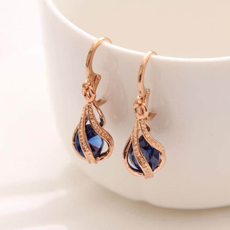 Fashion Gold Earrings Water Drop Sharp CZ Stone Rhinestone Long Drop Earrings For Women Dangle Earrings Wholesale Ear Jewelry