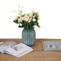 Nordic Luxury Wind Ins Simple Wind Grinded Glass Vase Arrangement Composite Flower Ware European Home Decoration