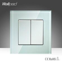 Amazing Discount 2 Gang 2 Way Wallpad Crystal Glass UK EU Double Control Push Button Light Wall Switch