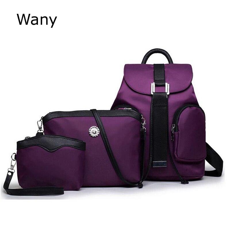 new waterproof nylon women backpack 3 pcs set school bags women s fashion tide college wind