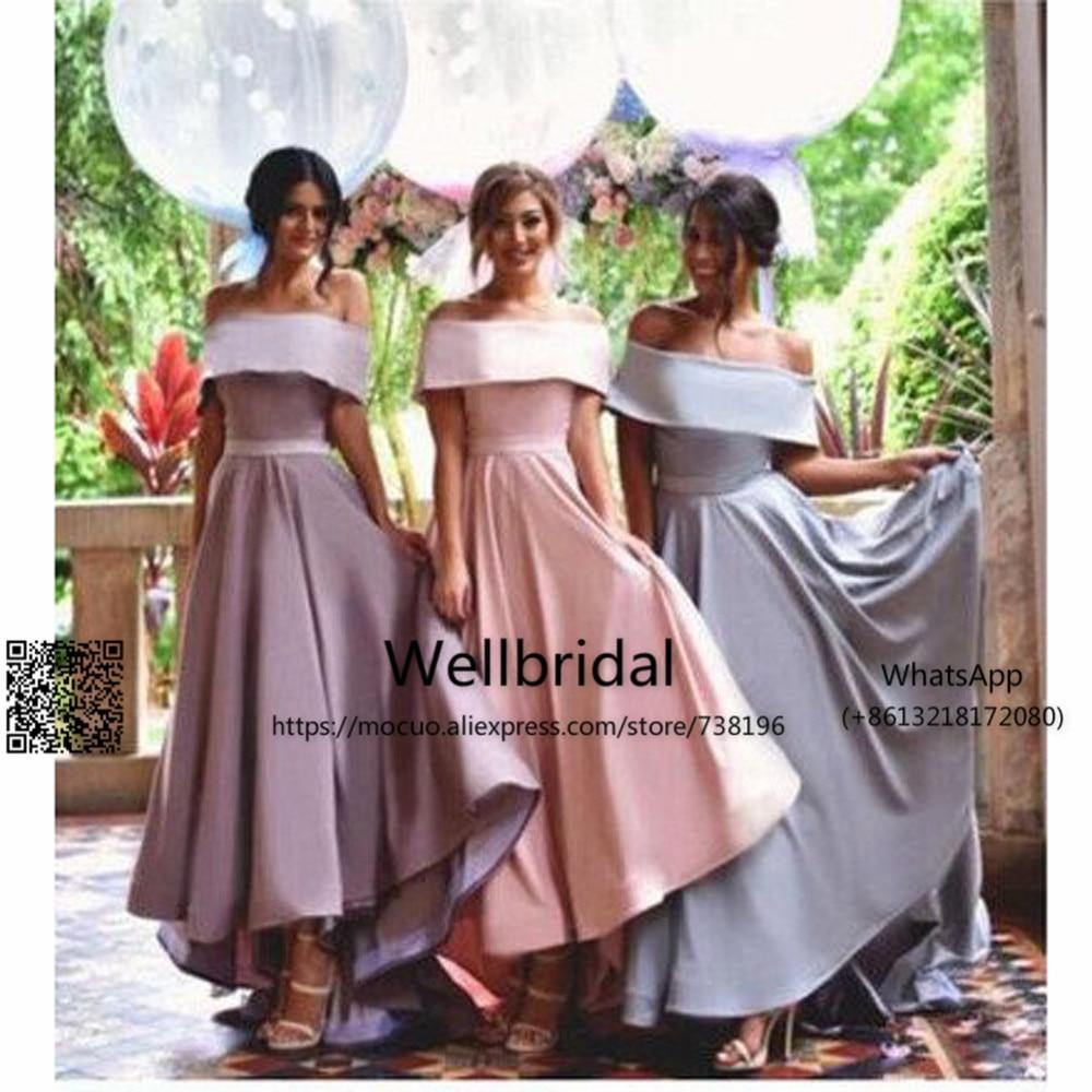 New 2017 Popular Bridesmaid Dresses Long Boat Neck Floor Length Short Sleeveles Hard Satin Wedding Party Dress Bridesmaid Dress