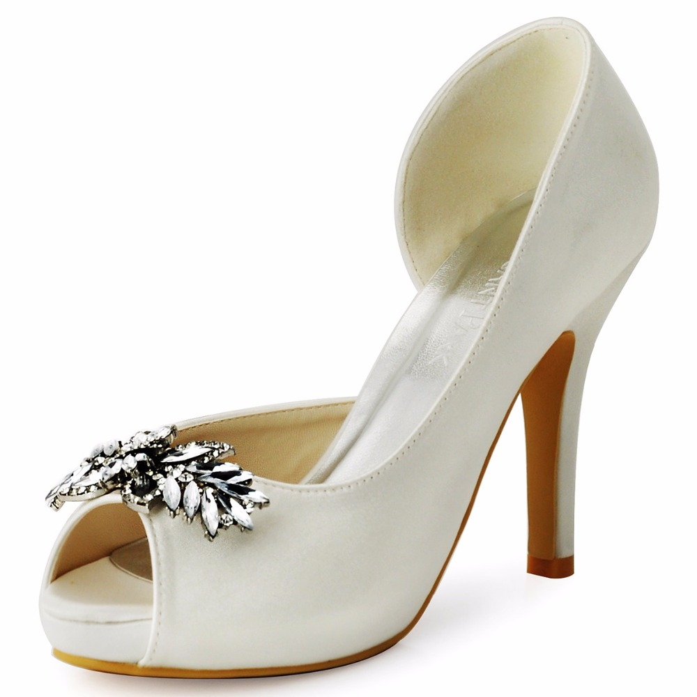 HP1550I White Ivory Women Bride Bridesmaids Peep Toe Crystal Heel Prom Pumps D'orsay Lady Satin Weeding Bridal Party Shoes women white high heel peep toe platform lace pumps bride bridesmaids prom evening party wedding bridal shoes ep11084 black ivory