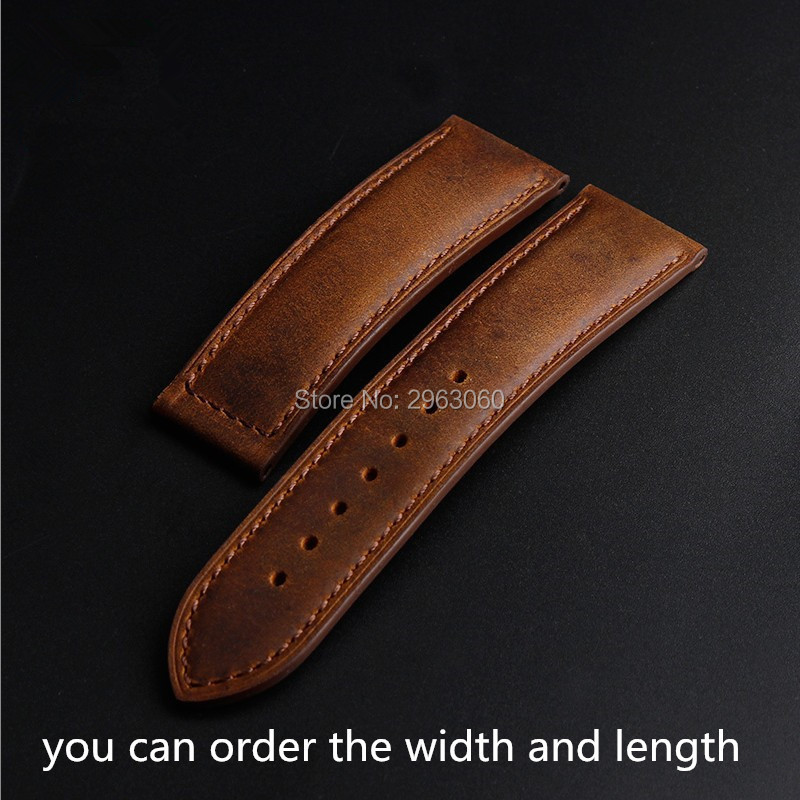 New Smooth Arrival Classic Crazy-horse Leather Strap 18mm 20mm 22mm Accept Order Casual Vintage Watchband Stock Free Shipping