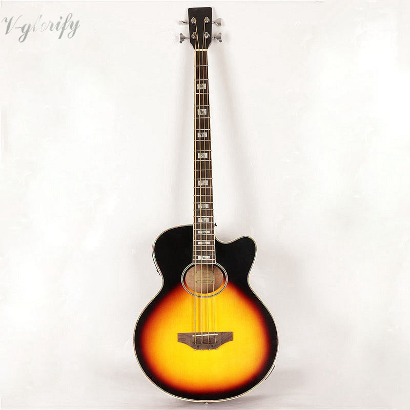 sunburst color 4 string acoustic bass guitar with eq