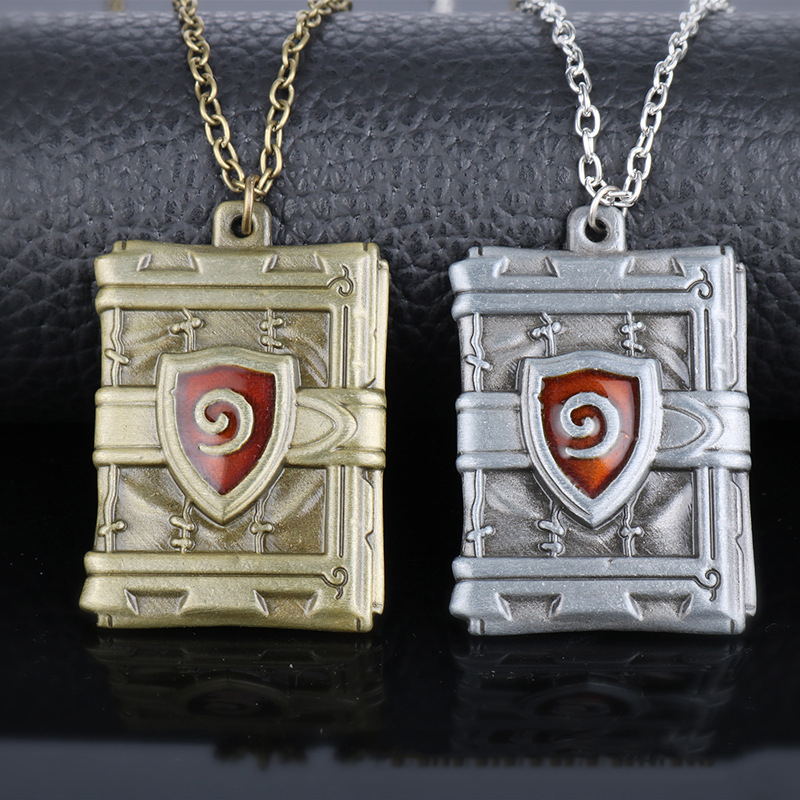 Wholesale 12pcs Game Jewelry Hearthstone Heroes Of War Crafts Pendant Necklace Hearth Stone Logo Metal Necklace choke Gift