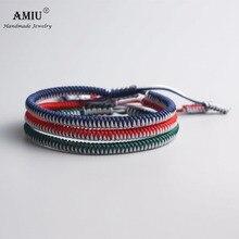 3PCS Multi Color Tibetan Buddhist Good Lucky Charm Tibetan Bracelets & Bangles For Women Men Handmade Knots Rope Bracelet