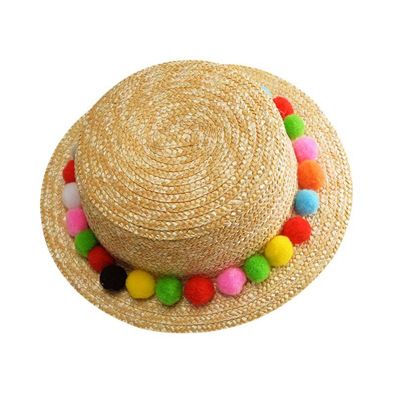 Korean Straw Sun Visor Hat Womens Summer Boho Sweet -7943