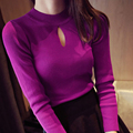 2016 Women's Autumn and Winter Ffashion Hollow Solid Wild Slim Bottoming Knit Sweater Tight Thin Round neck Pullover Ms.