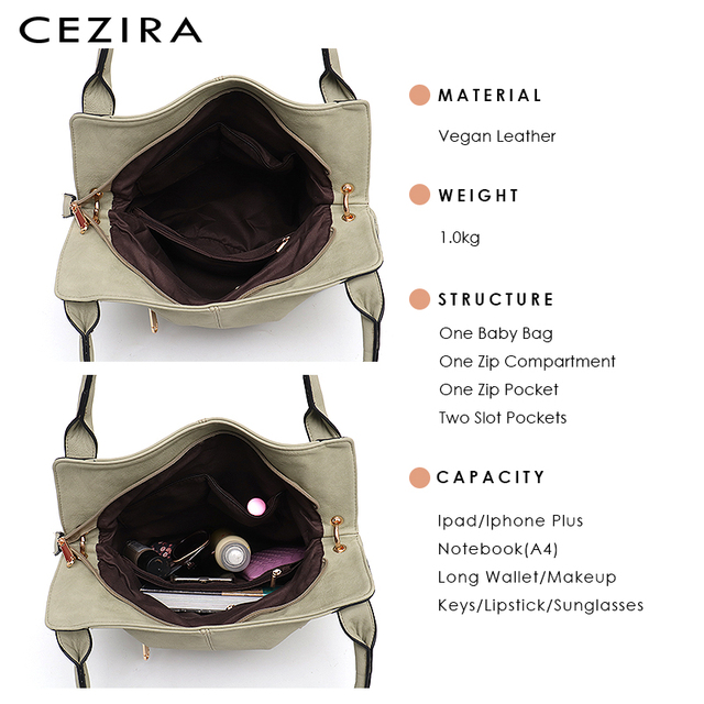 CEZIRA Brand Fashion Vegan Leather Women Shoulder Bags Female Casual Hobos Ladies Large PU Zip Pocket Tote Handbag Messenger Bag 4
