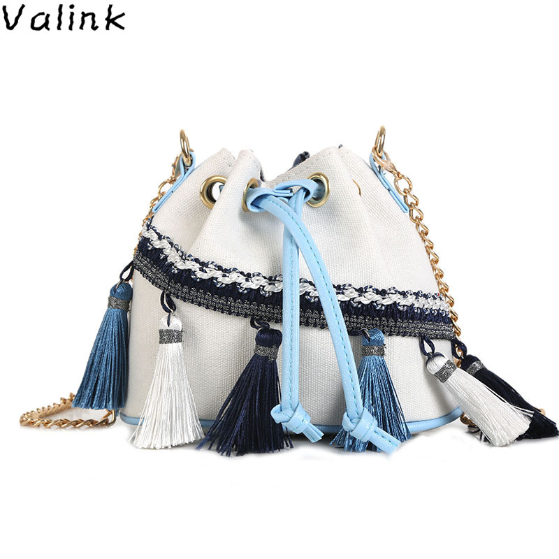 Bag Ethnic Style Fringe Bucket Bag Mini Chain Bag Drawstring Shoulder Messenger Bag Bolsa Feminina Sac A Main