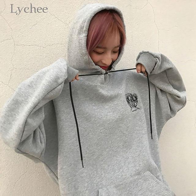 Lychee Harajuku Punk Autumn Winter Women Hooded Sweatshirt Head Embroidery Long Sleeve Casual Loose Fleece Hoodies Tracksuit 2
